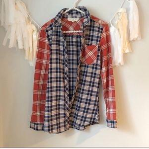 Francesca's Flannel Plaid Button Down Shirt